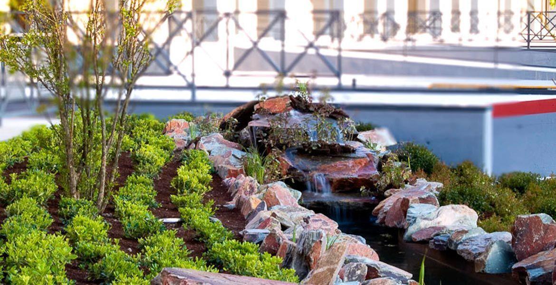 obra de jardineria y diseño de plaza de valdemoro